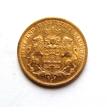 20 Mark Goldmünze Stadtwappen Hamburg 1875-1889 - J.210
