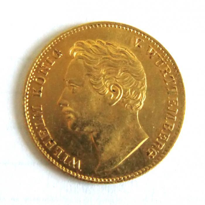 1 Dukat Goldmünze König Wilhelm I Württemberg 1841