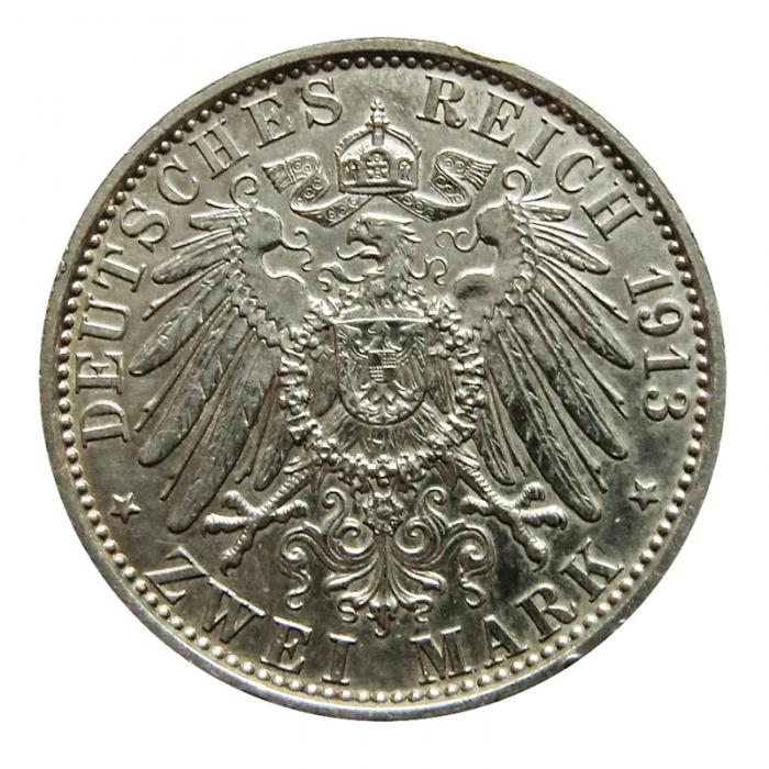 Silbermünze Deutsches Reich 2 Mark Wilhelm Ii 1913 A