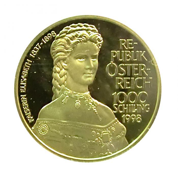 österreich Goldmünze 1000 Schilling Kaiserin Elisabeth 1998