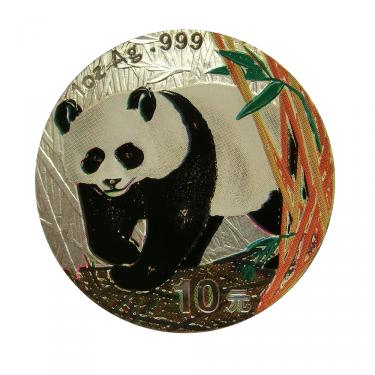 China Panda Silbermünze 2002 - 1 Unze - coloriert