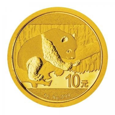 China Panda Goldmünze 10 Yuan 2016 - 1 Gramm in Original-Folie