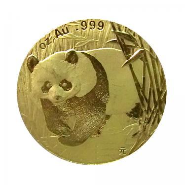 China Panda Goldmünze 2001 - 1/20 Unze in Originalfolie