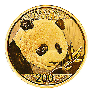 China Panda Goldmünze 200 Yuan 2018 - 15 Gramm in Original-Folie