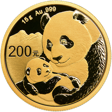 China Panda Goldmünze 200 Yuan 2019 - 15 Gramm in Original-Folie