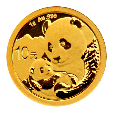 China Panda Goldmünze 10 Yuan 2019 - 1 Gramm in Original-Folie