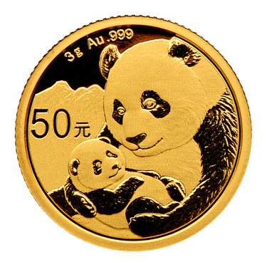 China Panda Goldmünze 50 Yuan 2019 - 3 Gramm in Original-Folie