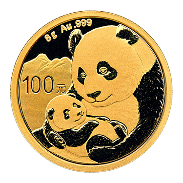 China Panda Goldmünze 100 Yuan 2019 - 8 Gramm in Original-Folie