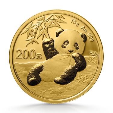 China Panda Goldmünze 200 Yuan 2020 - 15 Gramm in Original-Folie