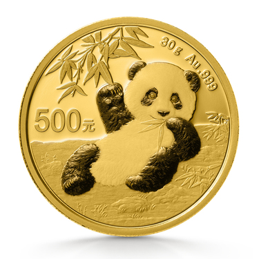 China Panda Goldmünze 500 Yuan 2020 - 30 Gramm in Original-Folie