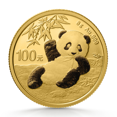 China Panda Goldmünze 100 Yuan 2020 - 8 Gramm in Original-Folie