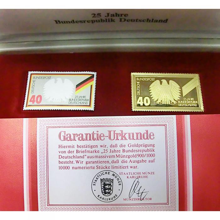 Goldprägung Der Briefmarke 25 Jahre Bundesrepublik Deutschland
