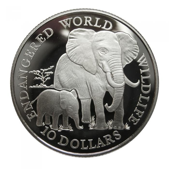 Silbermünze Cook Islands 1990 Endangered World Wildlife Elefant 10 Dol