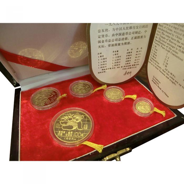 China Panda Goldsatz 5 Münzen Polierte Platte 1989 Im Etui