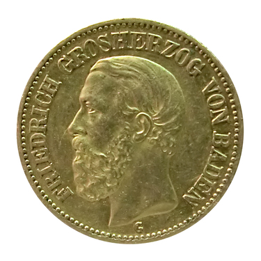 20 Mark Goldmünze Friedrich I., Baden 1872-1873 - J.184