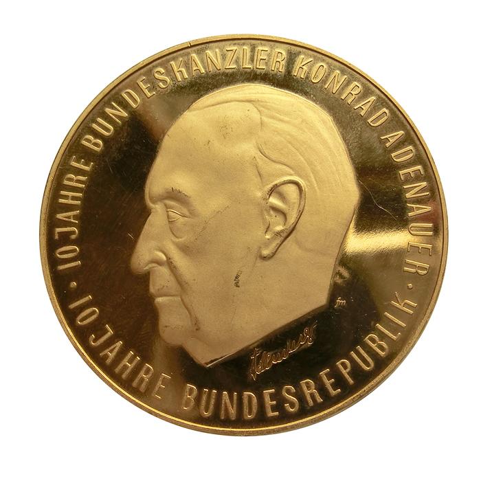Gedenkmedaille 50 Dukat Konrad Adenauer 10 Jahre Bundesr 980 Gg 1742
