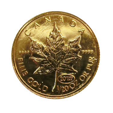 Maple Leaf Goldmünze Privy Mark 20 Jahre - 1/20 Unze 999,9 Feingold