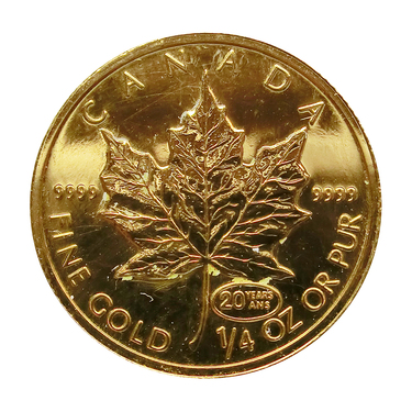 Maple Leaf Goldmünze 1999 Privy Mark 20 Jahre 1/4 Unze 999,9 Feingold
