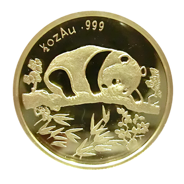 China Panda Goldmedaille 1995 PP - 1/2 Unze Munich Coin Show