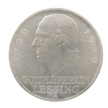 5 Mark Silbermünze Lessing 1929 - J.336