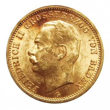20 Mark Goldmünze Friedrich II., Baden 1911-1914 - J.192