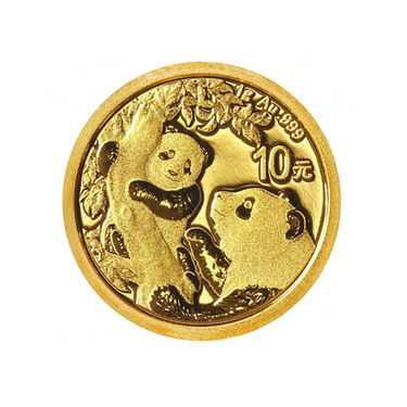 China Panda Goldmünze 10 Yuan 2021 - 1 Gramm in Original-Folie