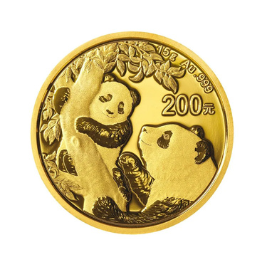 China Panda Goldmünze 200 Yuan 2021 - 15 Gramm in Original-Folie