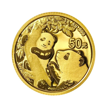 China Panda Goldmünze 50 Yuan 2021 - 3 Gramm in Original-Folie