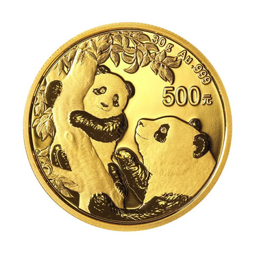 China Panda Goldmünze 500 Yuan 2021 - 30 Gramm in Original-Folie