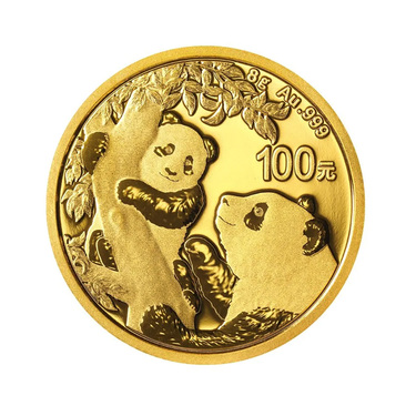 China Panda Goldmünze 100 Yuan 2021 - 8 Gramm in Original-Folie
