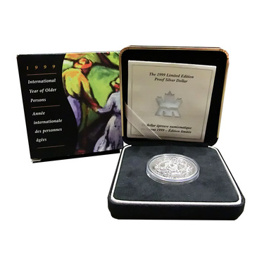Canada Silberdollar International Year of Older Persons 1999 PP mit Box und Zertifikat