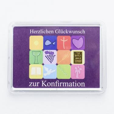 Goldbarren 1 Gramm zur Konfirmation