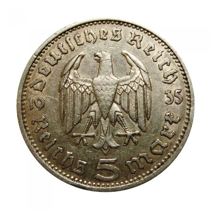 Silbermünze Deutsches Reich 5 Mark Hindenburg 1935